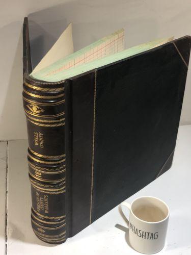Antique 1913 Wells County North Dakota Registry of County Warrants Book Criminal-0