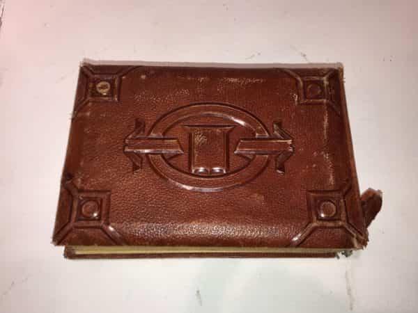 antique photo album leather bound brass clasp classic photos