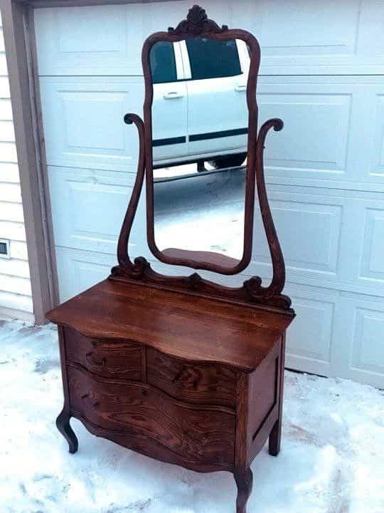Antique-Vanity-Dresser-Desk-Drawers-Mirror-Bedroom-Set-Furniture ...