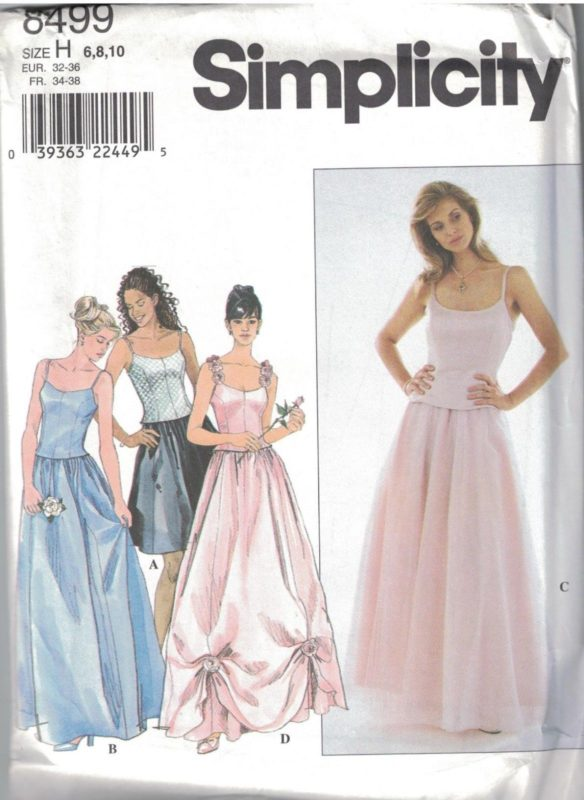 8499 UNCUT Simplicity SEWING Pattern Misses Lined Bustier Top Skirt ...