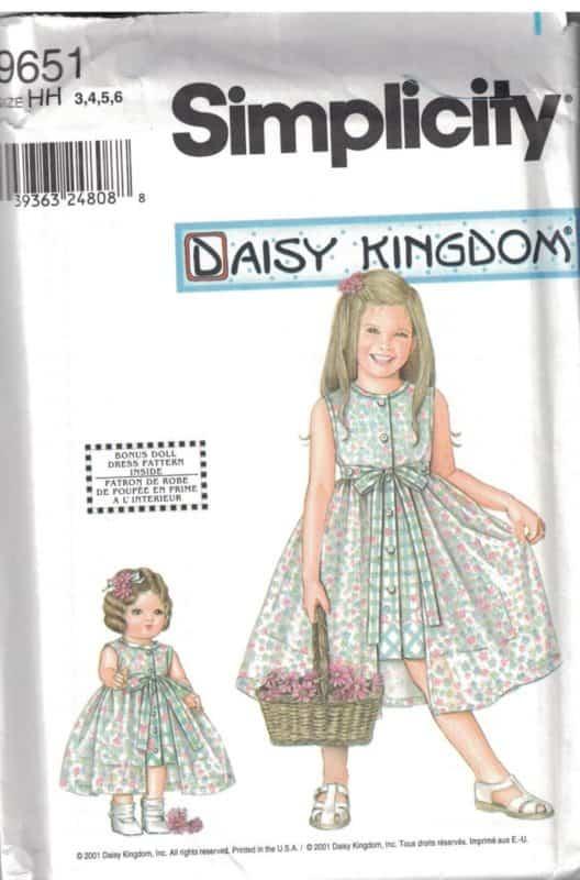 9651 UNCUT Simplicity Sewing Pattern Girls Daisy Kingdom Dress + 18 ...