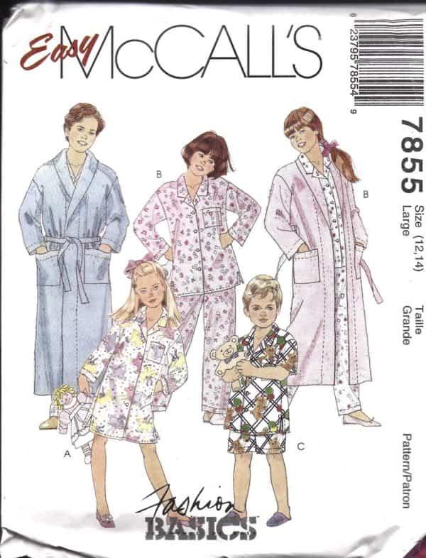 UNCUT McCalls Vintage Sewing Pattern Childrens Robe Belt Nightshirt ...