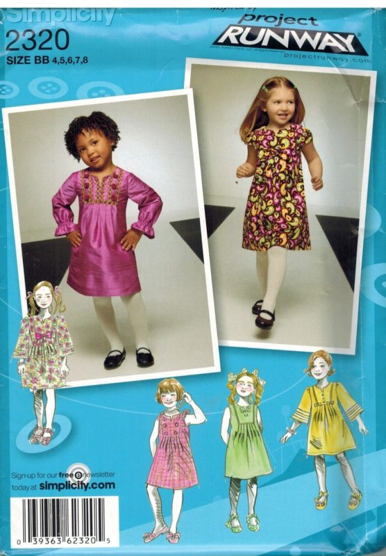 2320 Uncut Simplicity Sewing Pattern Girls Project Runway Dress 4 5