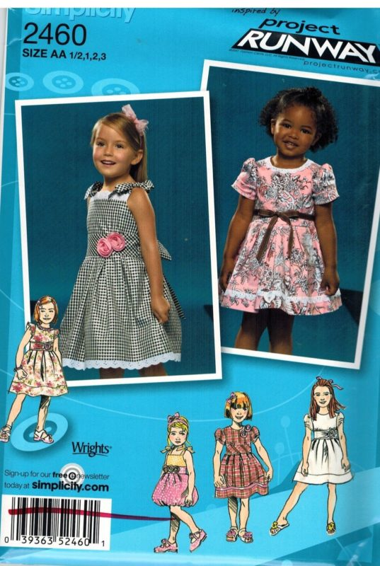2460 Uncut Simplicity Sewing Pattern Girls Dress Bodice Trim Project
