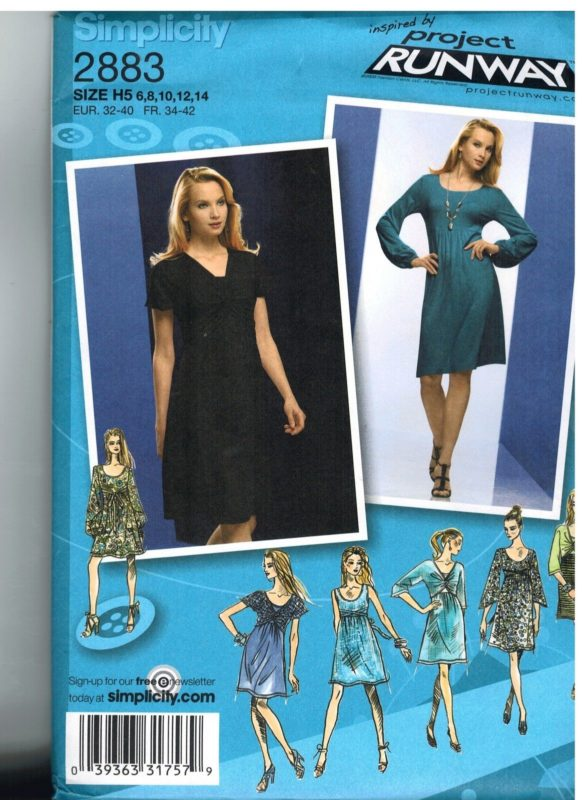 2883 Uncut Simplicity Sewing Pattern Misses Project Runway Knit