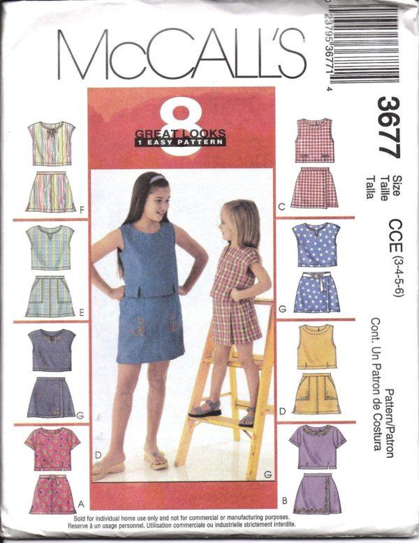 3677 UNCUT McCalls Sewing Pattern Girls Easy Tops Skorts 8 Looks OOP ...
