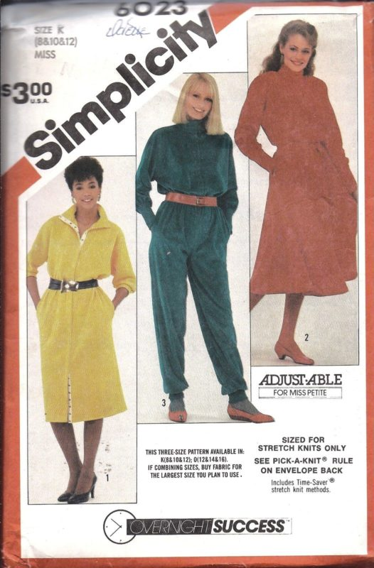 6023 Uncut Simplicity Sewing Pattern Misses Stretch Knit Dress