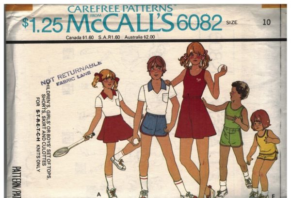6082 UNCUT McCalls Sewing Pattern Girls Boys Set of Tops Shorts ...