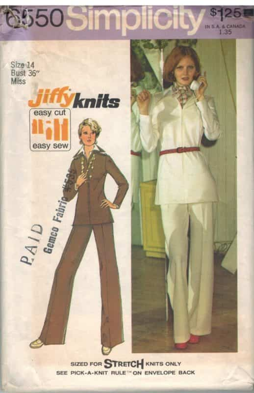 6550 Vintage Simplicity Sewing Pattern Misses Jiffy Knit Top Pants