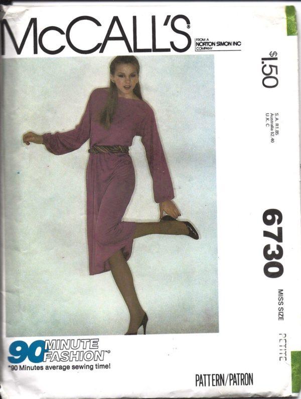 6730 Vintage McCalls Sewing Pattern 1970\'s Misses Pullover Dress ...