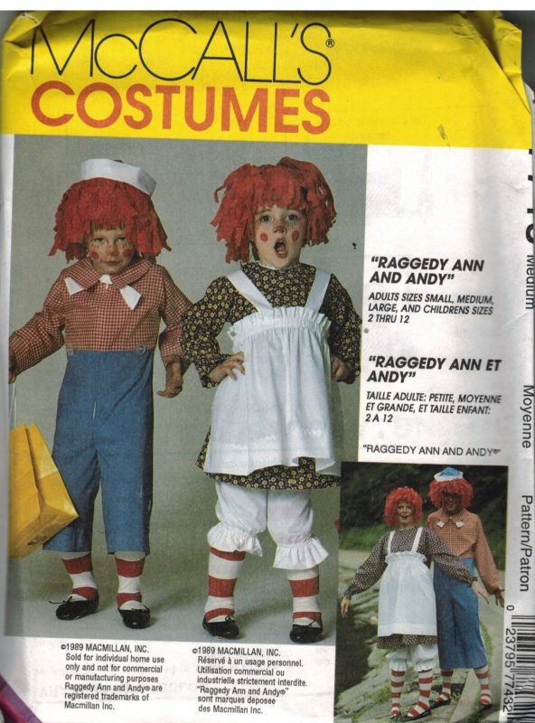 7743 UNCUT Vintage McCalls Sewing Pattern Raggedy Ann Andy Costume ...
