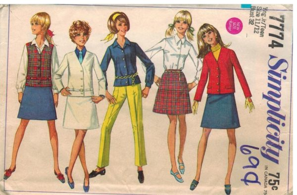 7774 Vintage Simplicity Sewing Pattern Junior Girls Jacket Skirt ...