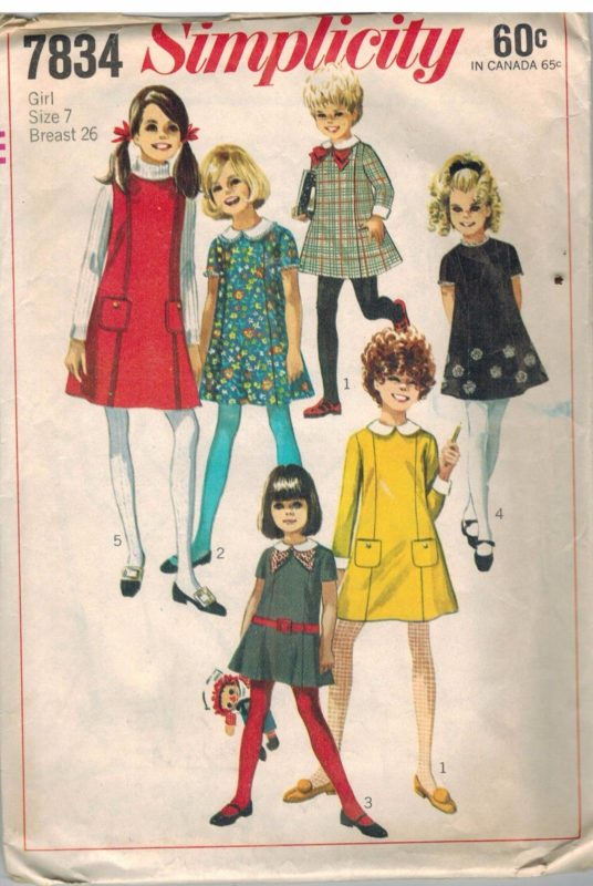 7834 Vintage Simplicity Sewing Pattern Girls Dress Jumper Princess ...