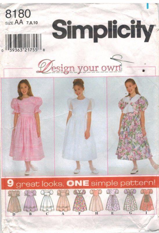 8180 Vintage Simplicity Sewing Pattern Girls Dress Full Skirt Design ...