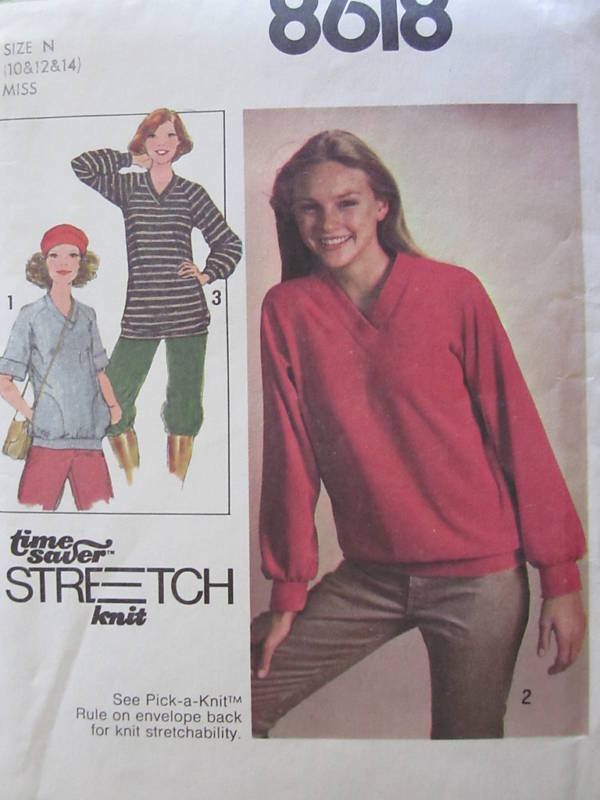 8618 Vintage Simplicity Sewing Pattern Misses Knit Top Time Saver