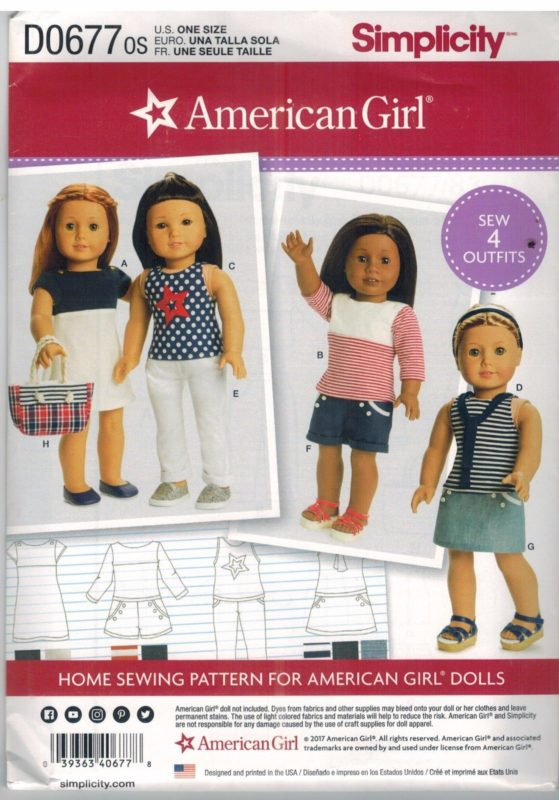 D0677 UNCUT Simplicity Sewing Pattern Fits American Girl 18\