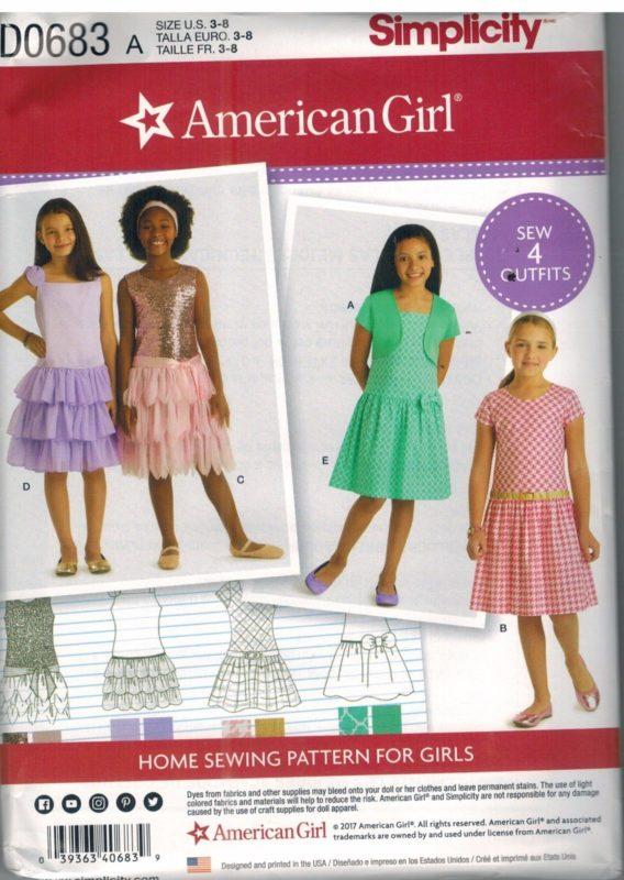 D0683 UNCUT Simplicity Sewing Pattern American Girl Brand Girls Knit ...