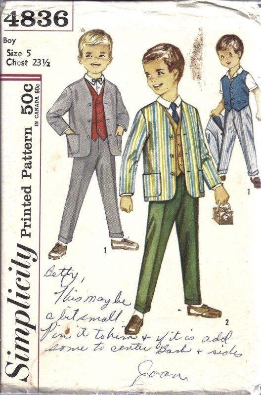 UNCUT Vintage Simplicity Sewing Pattern 1960s Boys Jacket Vest Pants ...