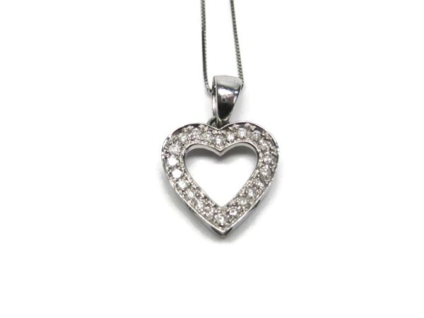 Vintage 14k white gold 25 carat diamond heart pendant necklace white gold 25 carat diamond heart pendant necklace fine aloadofball Images