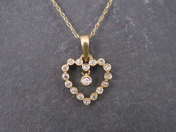Dainty vintage 90s 14k diamond heart pendant necklace diamond heart pendant necklace fine aloadofball Choice Image
