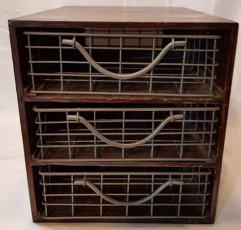 Vintage 3 Drawer Desktop File Organizer ~ Wooden Cabinet with Wire ...