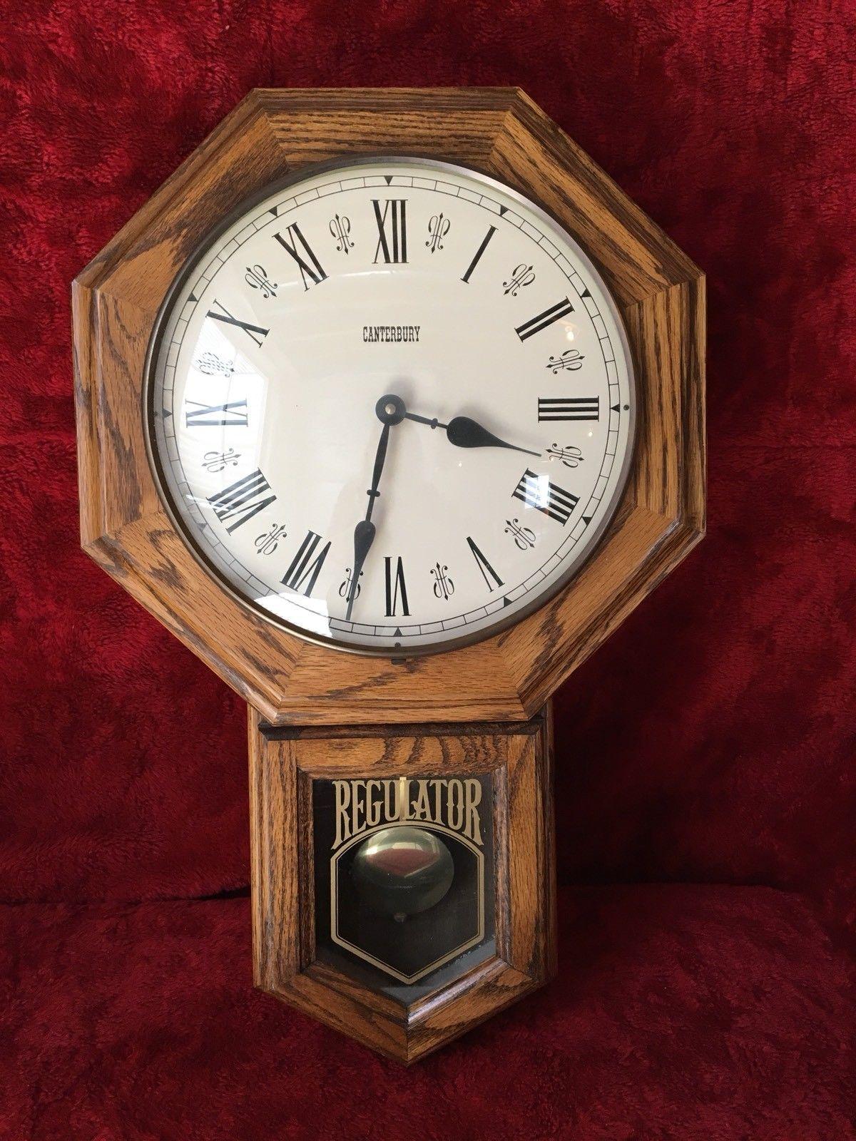 Vintage Canterbury Quartz Pendulum Wall Clock Usa Made No Chime