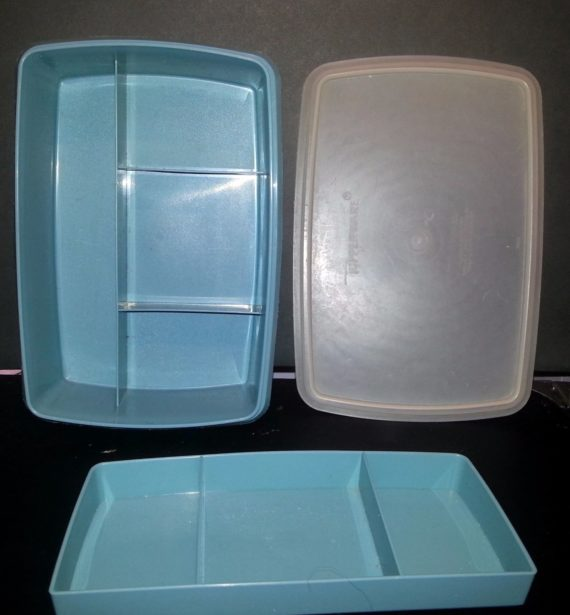 Vtg Tupperware Storage Organizer Tuppercraft Container Country Blue Emergecy Kit