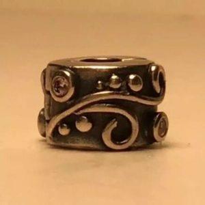 pandora-abstract-swirl-w-cz-stone-charm-bead-925-silver-790291-authentic
