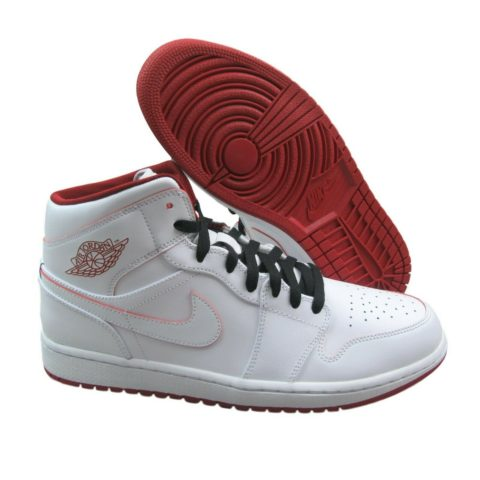 e9aa64490615 Air Jordan 1 Mid Mens Size 11.5 White Gym Red Basketball Shoes ...