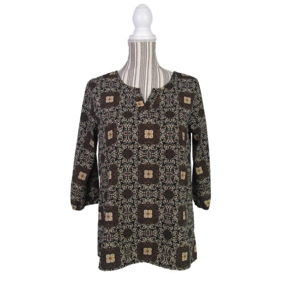anthropologie-birdcage-blouse-top-size-small-brown-black-damask-print-v-neck