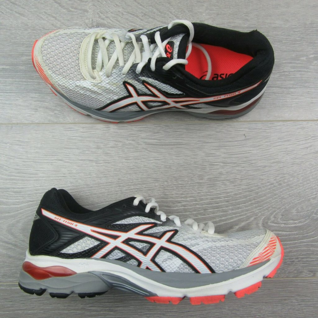 49b4cd03354e ASICS Womens GEL-FLUX 4 Running Shoes Size 8 Black White Orange T764N