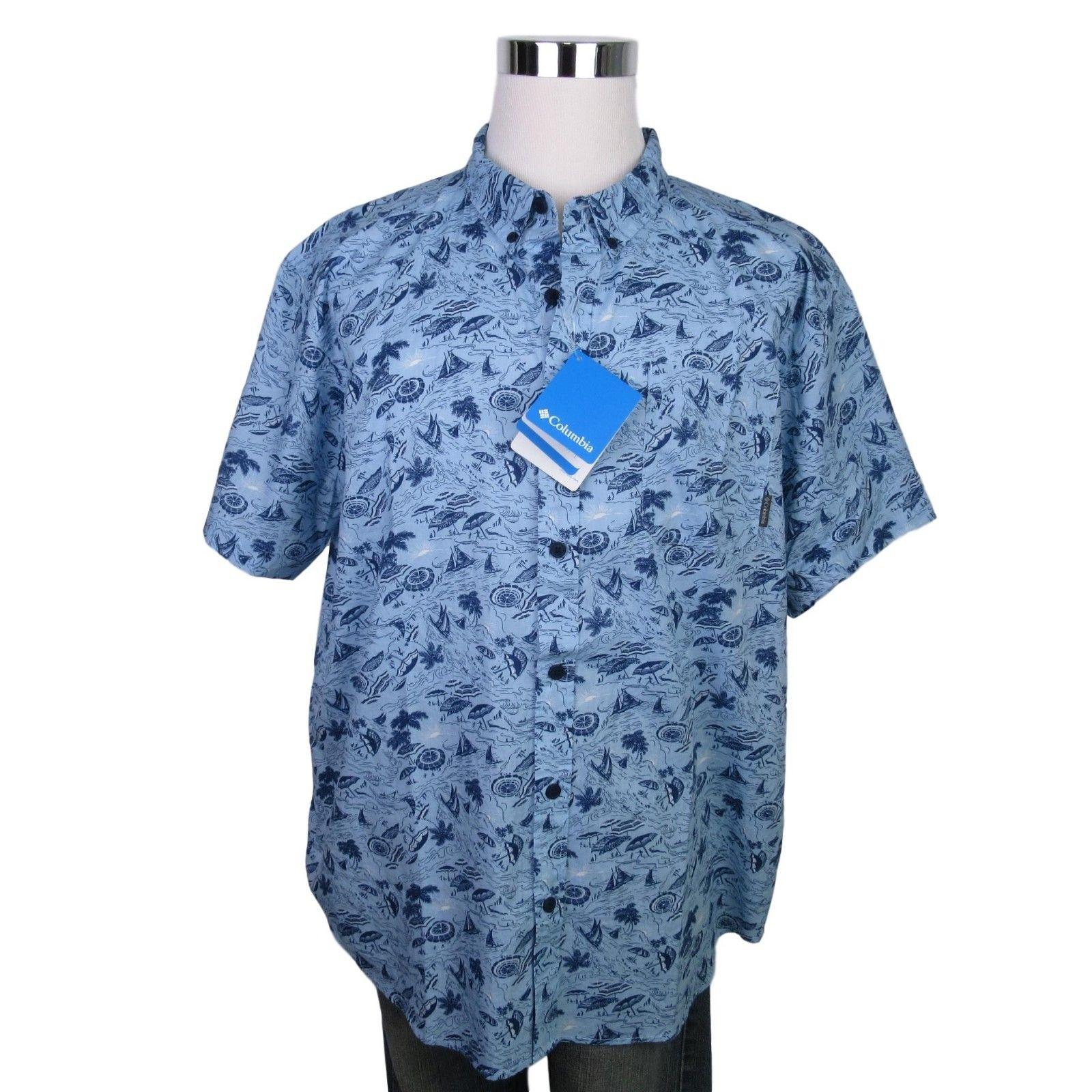 f3f81ad0e5b Columbia Rapid Rivers Shirt Size XXL Mens Blue Button Front Short ...