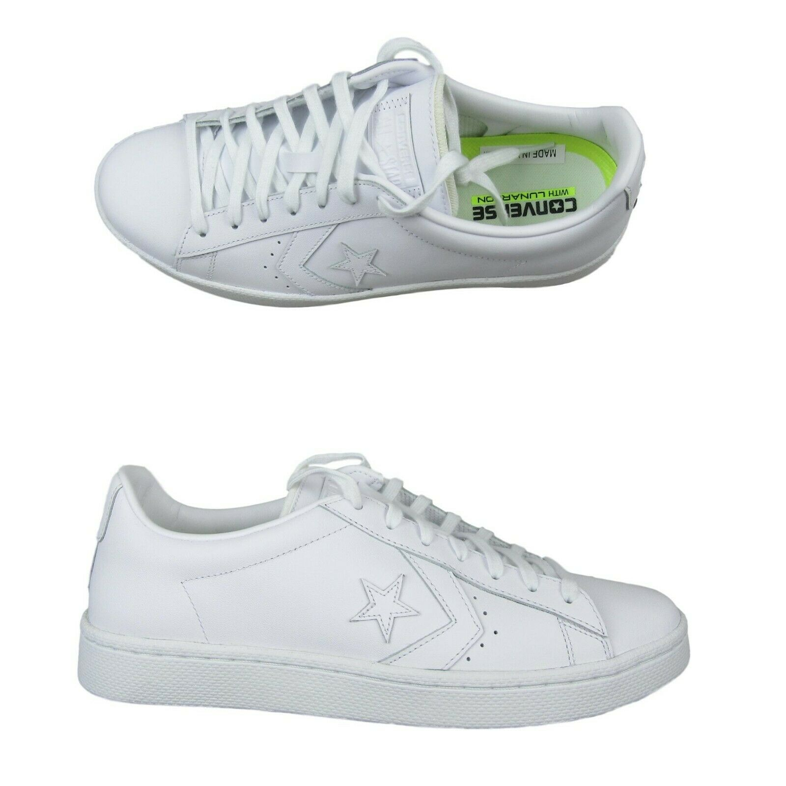 b6cb8a601c80aa Converse Pro Leather Ox Low Triple White Shoes Size 9.5 Mens 155319C New