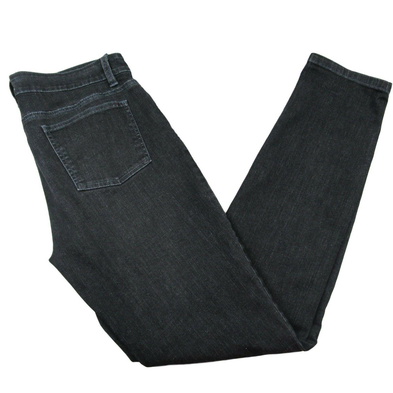 02faba77e813 Eileen Fisher Black Mid Rise Jeans Size 8 Straight Slim Leg Organic ...