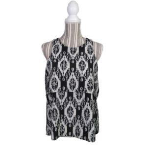francescas-bird-cage-label-tank-blouse-top-size-medium-layered-black-white-new