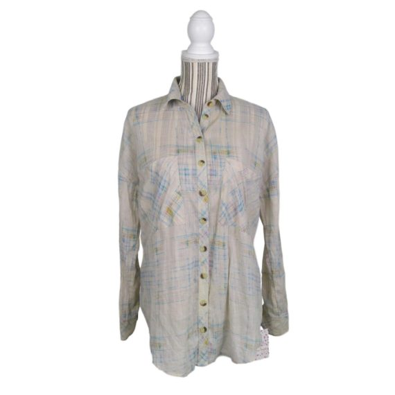 free-people-printed-burnout-ivory-tunic-top-size-small-womens-button-down-nwot