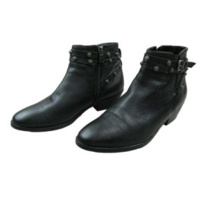 halogen-ankle-boots-booties-shoes-size-7-5-womens-black-buckle-metal-accents