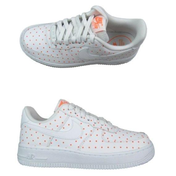 nike-air-force-1-07-womens-shoes-size-7-white-orange-polka-dot-at5019-100-new