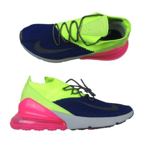 fdc591bf0e63 Nike Air Max 270 Flyknit Regency Purple Grey Volt AO1023 501 Mens ...