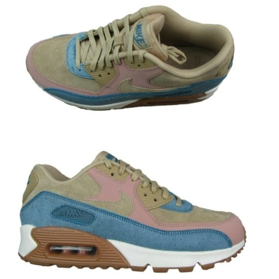 nike-air-max-90-lx-womens-running-shoes-size-9-pony-hair-beige-blue-898512-200