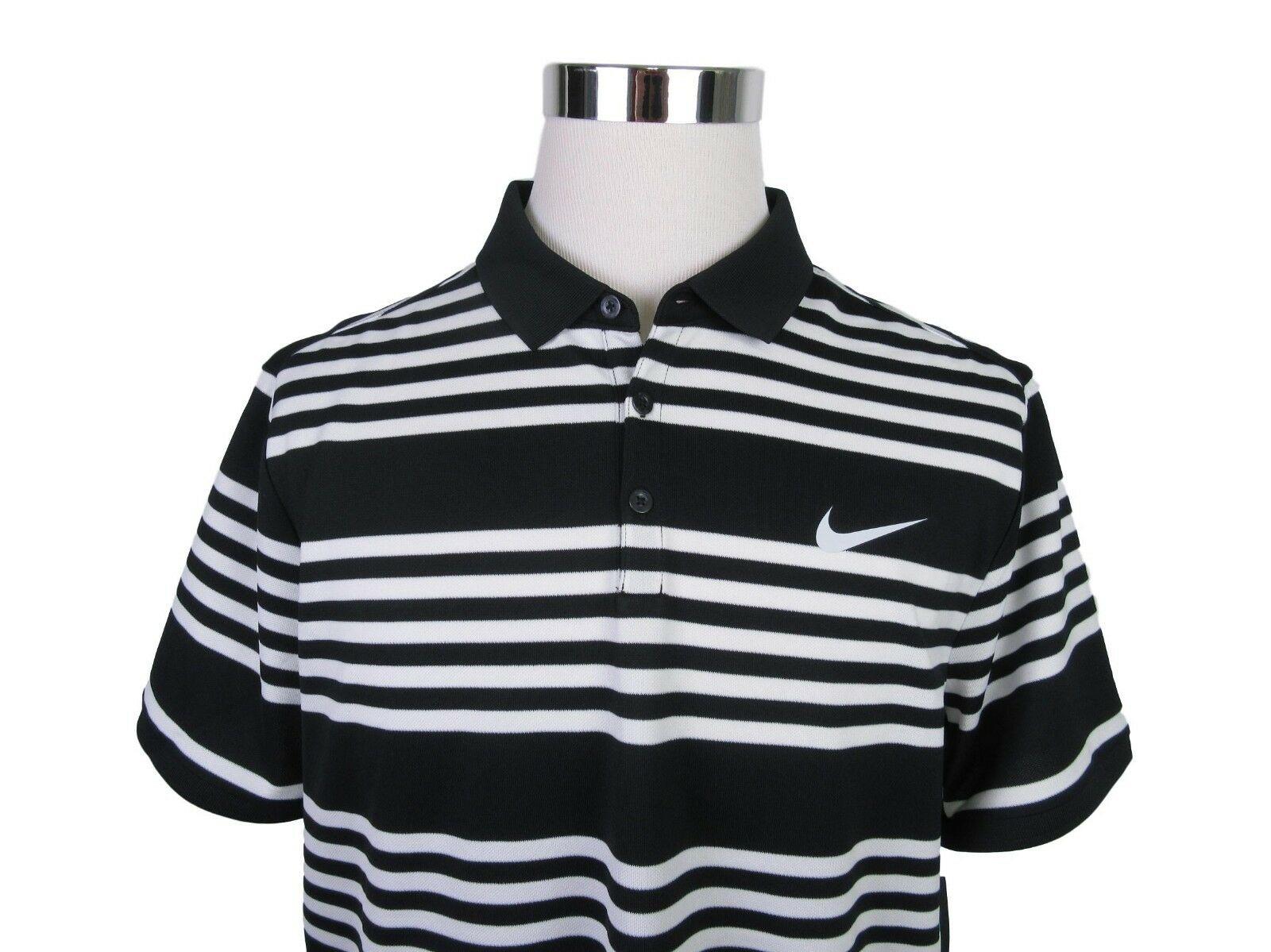3248bb86f4 Nike Dri-Fit Court Dry Black White Striped Polo Shirt Size XL Mens ...