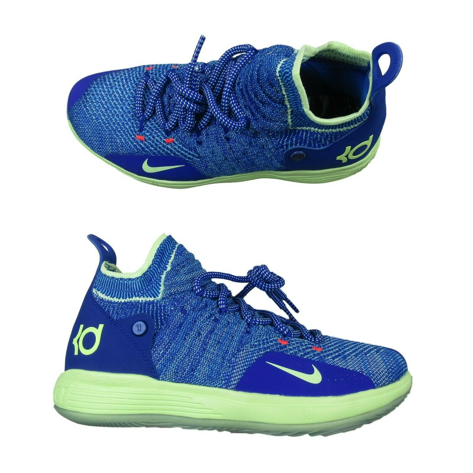 e4ee764ba690 Nike KD11 GS Basketball Shoes Blue Lime Green Size 7Y Womens 8.5 ...