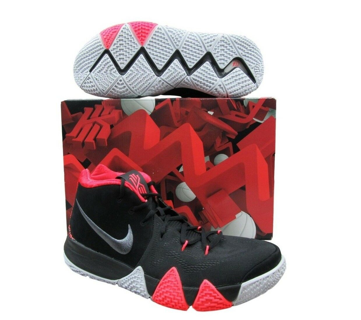 "01ba68530e7 Nike Kyrie 4 Black Crimson Basketball Shoes 10.5 ""41 for the Ages"" 943806  005"