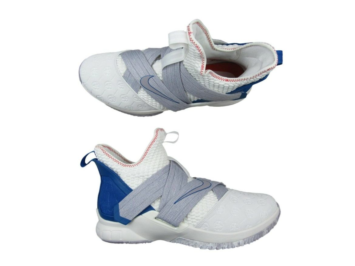 0be72a42c78 Nike Lebron Soldier XII Size 13 Mens Basketball Shoes White Blue ...