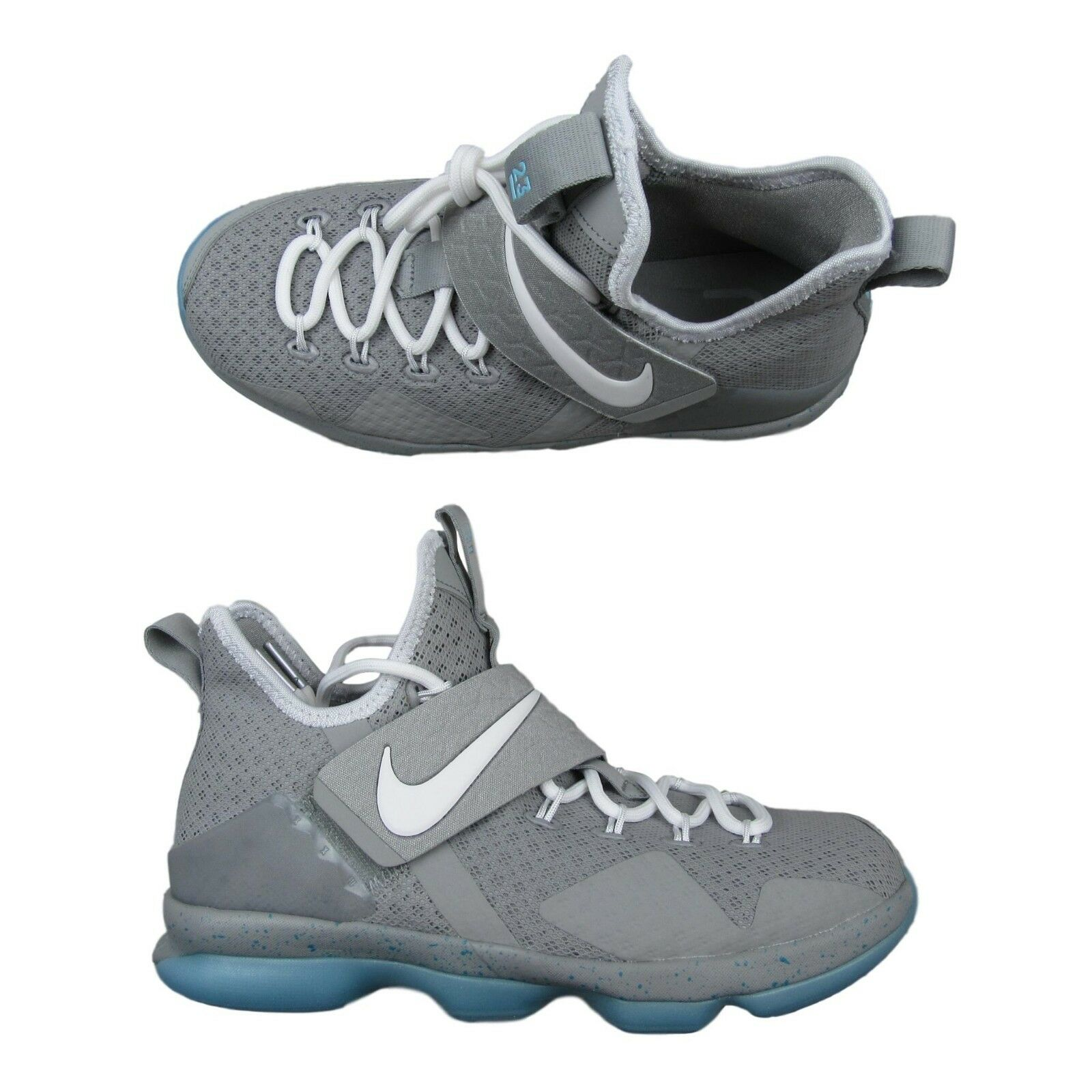 7d9c9f596ba9b Nike Lebron XIV GS Mag Marty McFly Size 6Y Youth Gray Blue 859468 ...