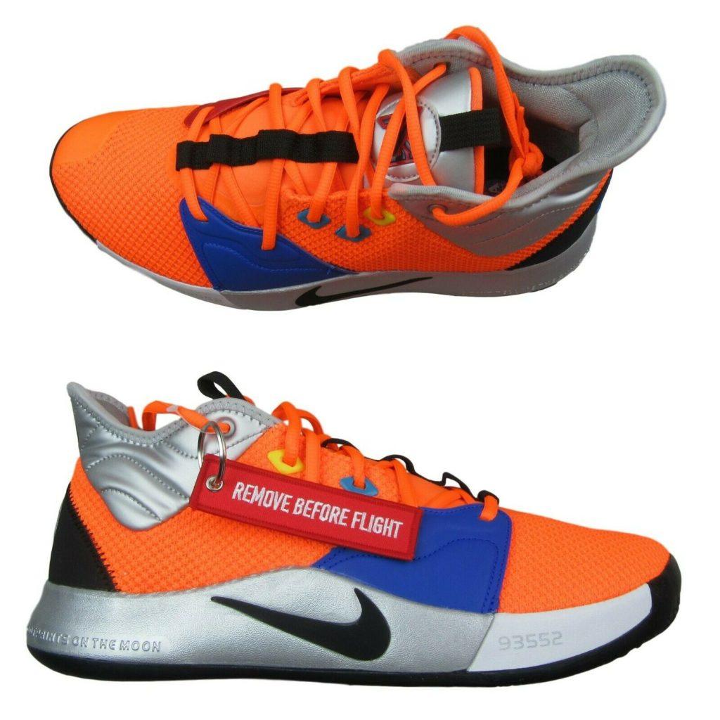 "27c77e8bdbaa Nike PG3 ""NASA"" Paul George Orange Basketball Shoes Size 12 Mens C12666 800"
