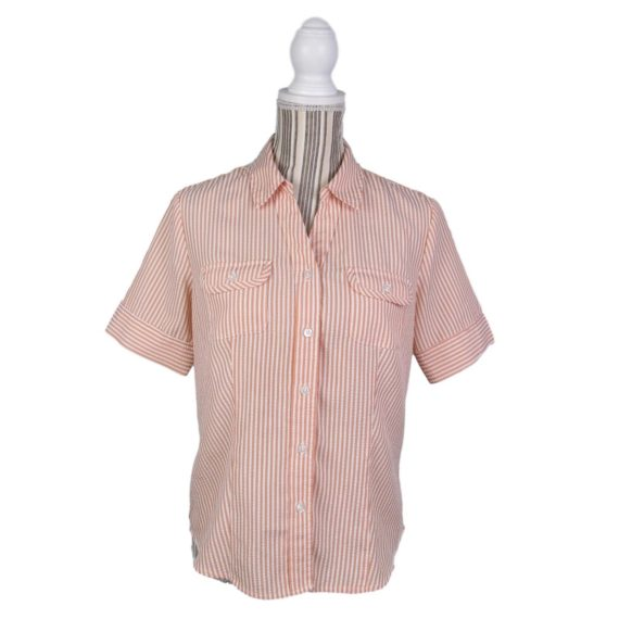 orvis-shirt-size-small-womens-orange-striped-short-sleeve-button-front-pockets