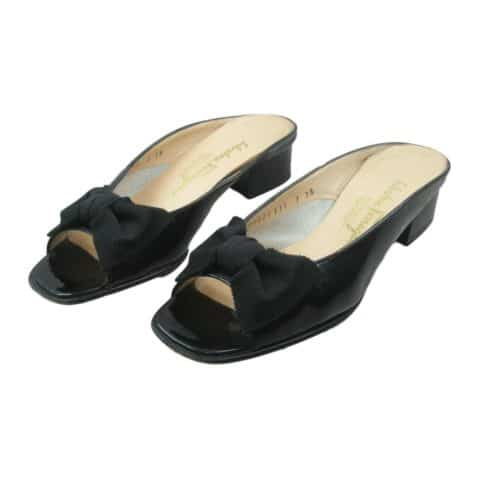 salvatore-ferragamo-womens-slip-on-mules-size-7-2a-black-patent-leather-bow