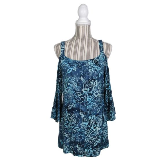 soft-surroundings-turks-cold-shoulder-shirt-top-size-xs-blue-floral-3-4-sleeve