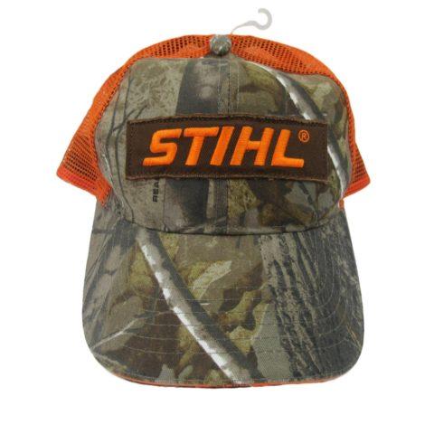 stihl-realtree-camo-orange-mesh-trucker-hat-cap-big-logo-patch-adjustable-new